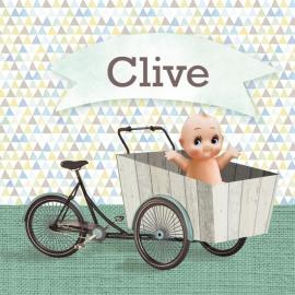 Geboortekaartje Clive | bakfiets jongen