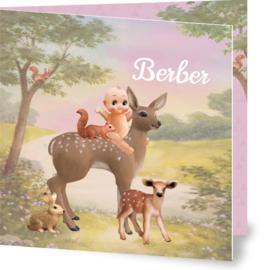 Geboortekaartje Berber | meisje met hertje