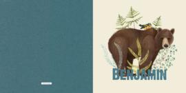 Geboortekaartje Benjamin, beer met vogeltje
