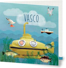 Geboortekaartje Vasco | retro gele duikboot