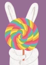 Postcard Bunny lollypop