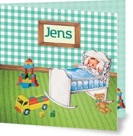 Geboortekaartje Jens | retro kamertje jongen
