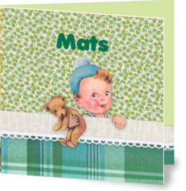Geboortekaartje Mats | jongen in bed groen