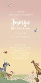Geboortekaartje Jasmijn | roze busje met dieren langwerpig