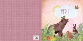 Geboortekaartje Merle | beer egel konijn meisje