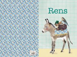 Geboortekaartje Rens | ezel konijn en parkiet