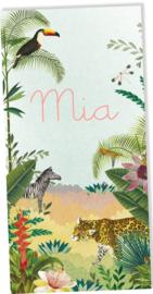 Geboortekaartje Mia, jungle met dieren en planten  langwerpig