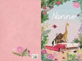 Geboortekaartje Nanne | roze oldtimer met dieren