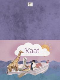 Geboortekaartje Kaat | dieren in roeiboot meisje