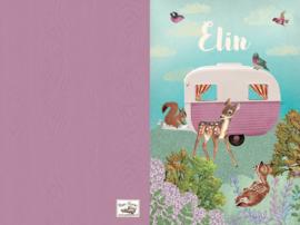 Geboortekaartje Elin | retro caravan roze