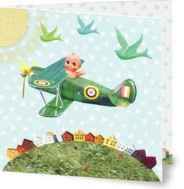 Geboortekaartje Jules | vliegtuig popje