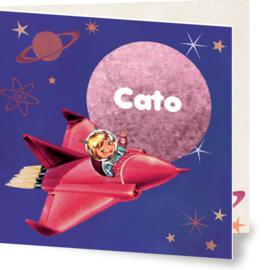 Geboortekaartje Cato | retro space meisje