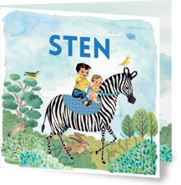 Geboortekaartje Sten | tweede kindje zebra jongen