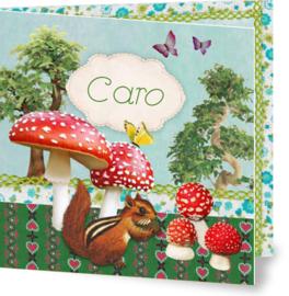Geboortekaartje Caro | paddestoelen eekhoorn