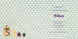 Geboortekaartje Vika | retro vogelhuisjes meisje