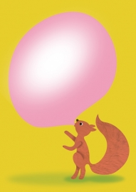 Postcard Squirrel bubblegum