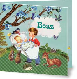Geboortekaartje Boaz | broertjes wiegje
