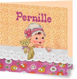 Geboortekaartje Pernille | meisje in bed oranje