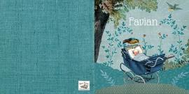 Geboortekaartje Favian | kinderwagen onder boom jongen