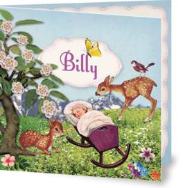 Geboortekaartje Billy | lente wieg hertjes