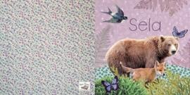 Geboortekaartje Sela | beer en vos roze