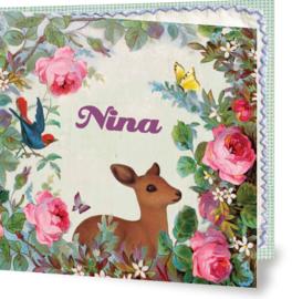 Geboortekaartje Nina | hertje met rozen