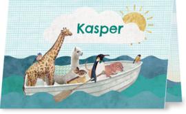 Geboortekaartje Kasper | dieren in roeiboot jongen
