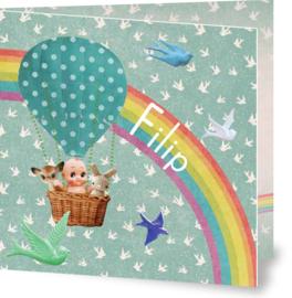 Geboortekaartje Filip | blauwe luchtballon en regenboog