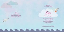 Geboortekaartje Sia | zeilboot meisje