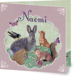Geboortekaartje Naomi | bosdieren in kader roze