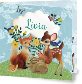 Geboortekaartje Livia | bosdieren bloemen