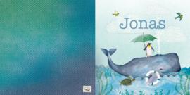 Geboortekaartje Jonas, walvis met pinguïn