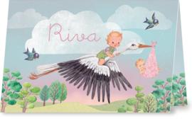 Geboortekaartje Riva | zusje en broer met ooievaar