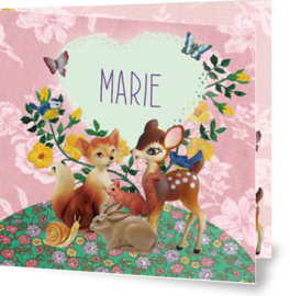 Geboortekaartje Marie | bosdieren roze