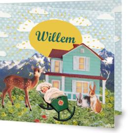 Geboortekaartje Willem | huisje wiegje hertje