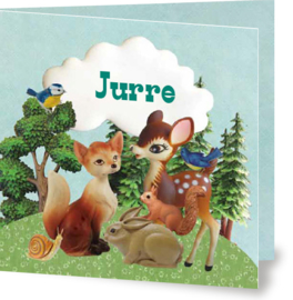 Geboortekaartje Jurre | bosdieren bomen