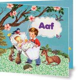 Geboortekaartje Aaf | zusje broer wiegje