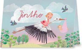 Geboortekaartje Jinthe | zusjes met ooievaar
