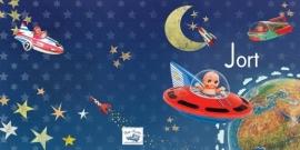 Geboortekaartje Jort | retro space popje