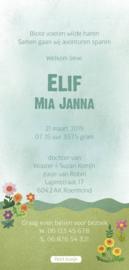 Geboortekaartje Elif | ooievaar op huisje