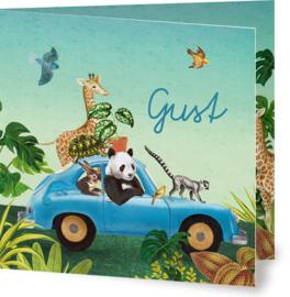 Geboortekaartje Gust, blauwe auto met dieren in jungle