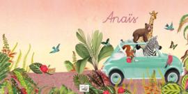 Geboortekaartje Anaïs, mint auto met dieren in jungle