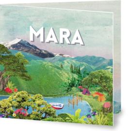 Geboortekaartje Mara, landschap kamperen