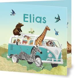 Geboortekaartje Elias | dieren in mint busje