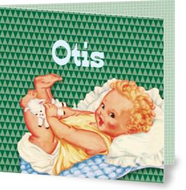 Geboortekaartje Otis | retro baby jongen