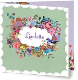 Geboortekaartje Liselotte | retro bloemetjes kader