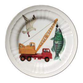 Bord kraanwagen met vis en meeuw