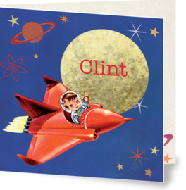 Geboortekaartje Clint | retro space jongen