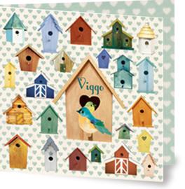 Geboortekaartje Viggo | retro vogelhuisjes jongen