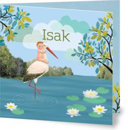 Geboortekaartje Isak | kindje met ooievaar blauw